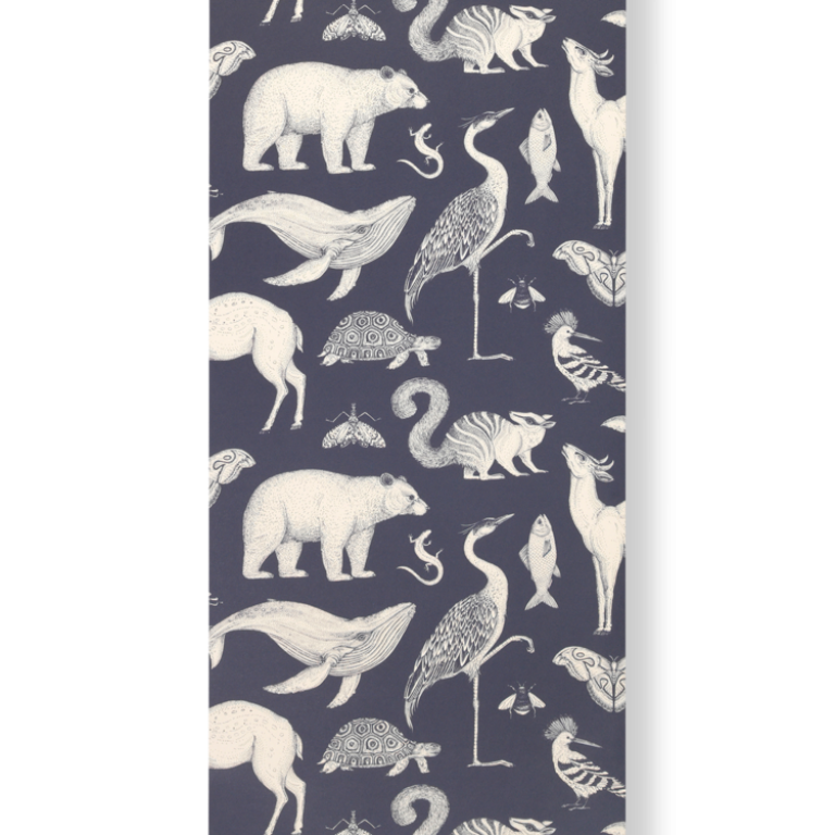 Katie Scott Tapet - Animals dark blue